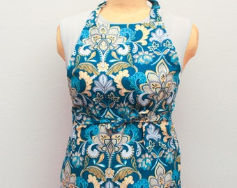 Blue and Yellow Floral Print Apron - Teal Blue Yellow Kitchen Apron - Cute Apron - Handmade Apron - Homemade Gift  - Floral Print Apron