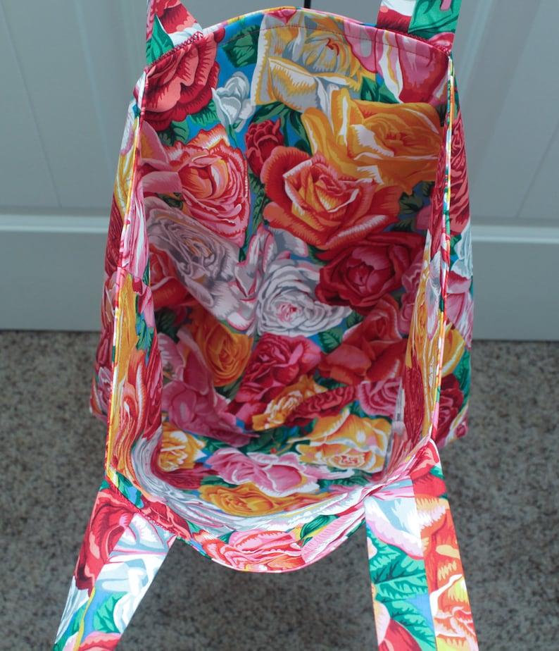 Farmer/'s Market Bag Handmade Bag Reusable Shopping Bag Floral Purse Roses Handmade Tote 90s Floral Print Beach Bag