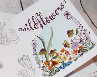 Willow, wildflowers art print, mushroom stationary, caterpillar stationary, stationary personalized, greeting cards handmade, greeting cards
