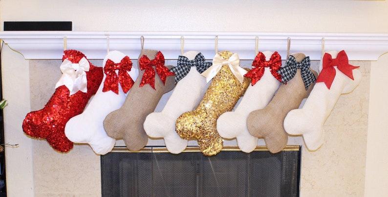BIG Christmas Dog Stockings CUSTOMIZED Fabric and Bow image 0