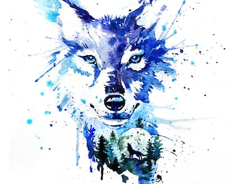 Wolf Print, Wolf Wall Art, Wolf Watercolour Print, Wolf art, Wolf Painting Print, Watercolor Wolf, Wolf Poster, Wolf gift, Wolf Lover