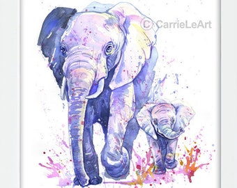 Elephant Print.Mother and Baby,Elephant Painting,Elephant Art,Elephant Prints,Elephant Watercolour,Elephant Lover,Elephant Gift