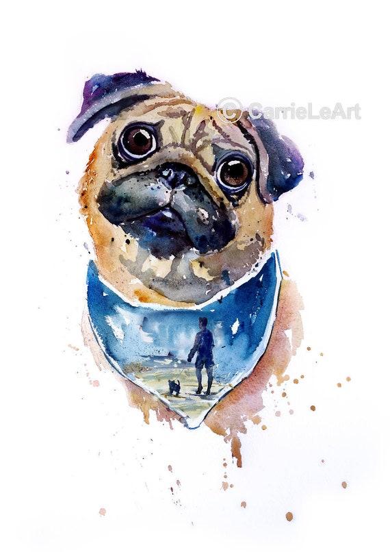 PUG PRINT.Original Watercolour Pug Portrait.Pug Painting.Pug Art.Pug Poster.Pug wall art.Dog Print.Pug lover.Pug watercolour.Pet print.