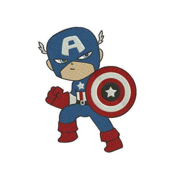 Superhero Marvel Captain America Embroidery Designs Embroidery Etsy