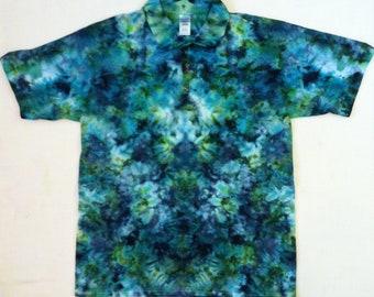 Ice Tie Dye Shirt Adult Polo Ice Tie Dye Men's Ice Dye Custom Made Tie Dye Made to Order Tie Dye Men's Polo Ice Tie Dye Collared Tie Dye