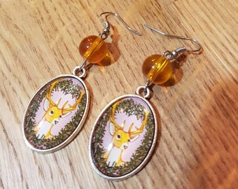 Reindeer earrings with pearls / Silver earrings deer with amber beads