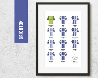 Brighton 2017 Championship Promotion Winners Team Print, Gift for Him, Football Poster, FREE UK Delivery