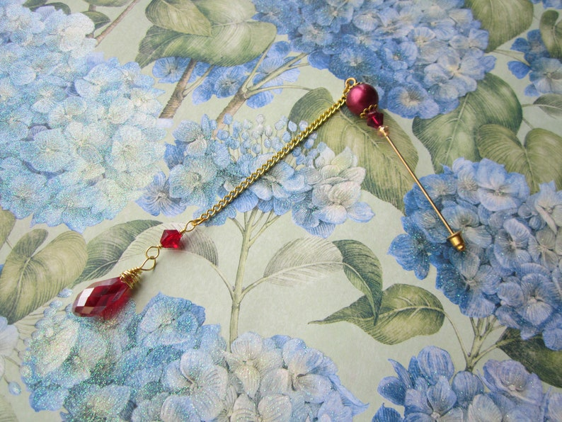 Burgundy Red Pearl and Crystal with Gold Hijab Pin Scarf Pin Hat Pin Brooch