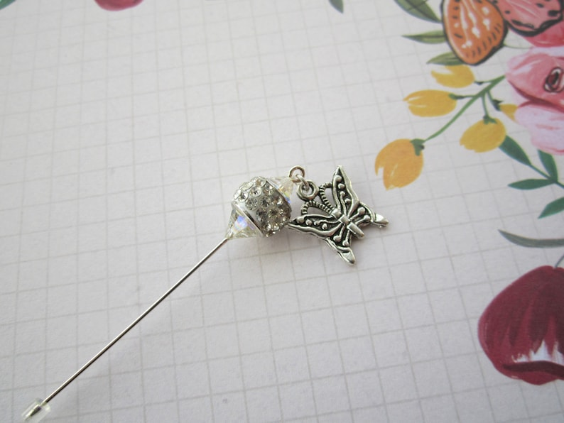 White Crystal with Butterfly Hijab Scarf Hat Pin Brooch