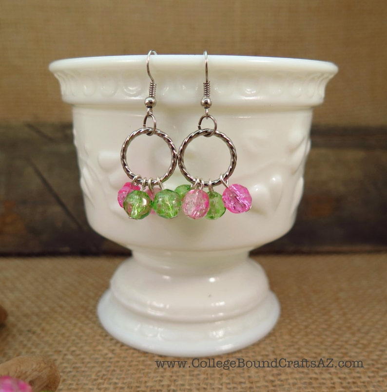 Green /& Pink Crackle Glass Bead Dangle Earrings and Stretch Bracelet Set in Silver FREE SHIPPING!!!