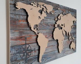 Holz Weltkarte Etsy