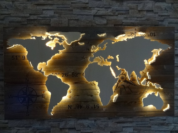 World Map Of Wood Led Lighting 3d Effect Etsy