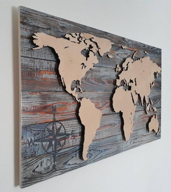 Weltkarte Aus Holz 3d Effekt Led Beleuchtung Deko Wandbild Etsy
