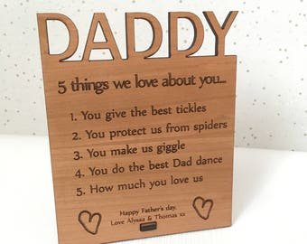 Personalised Fathers Day Gift Daddy Plaque Dad Birthday For From Children