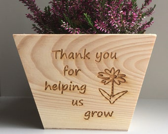 Personalised teacher gift, teacher plant pot, thank you for helping me grow, gift for teacher, nursery gift, end of term gift
