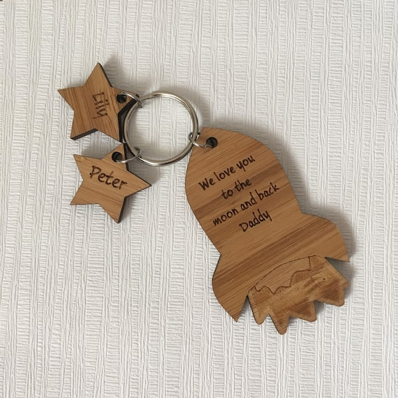 Personalised Daddy Keyring Moon And Back