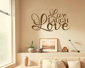 & Live laugh love vinyl wall art   Etsy