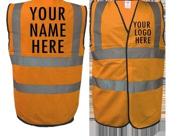 94777828 Custom Printed Orange Hi Vis vest, Any logo, Any Text, Safety
