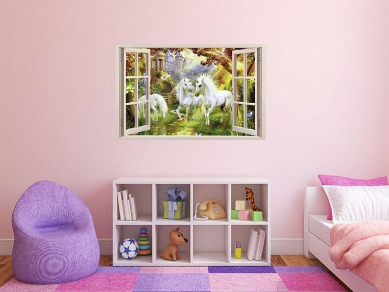 PVC Decal FULL COLOUR Unicorn Wall Art Modern Transfer 3D Window Sticker