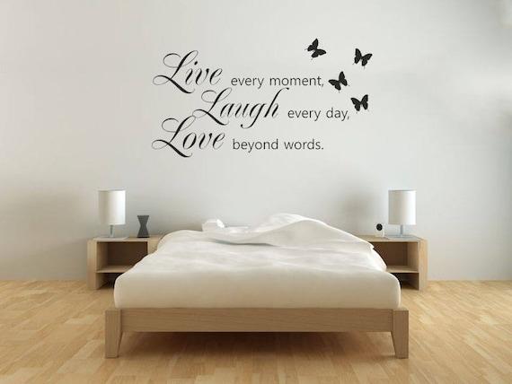 CONTEMPORARY VINYL DECAL TRANSFER LIVE LAUGH LOVE WALL STICKER