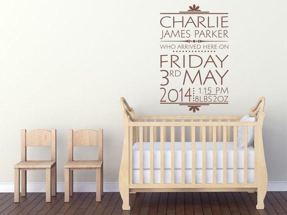 PERSONALISED Date Of Birth Nursery Newborn Wall Sticker Decal Modern Transfer