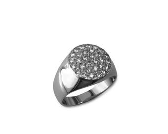 Pave diamond gold ring, pave diamond gold ladies ring