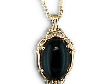 Gold pendant black onyx victorian pendant