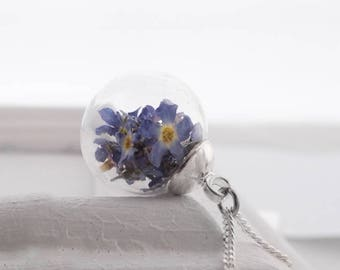 real forget-me-not flowers necklace, real flowers jewelry necklace 45-80 cm