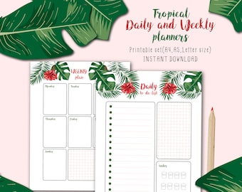 Tropical style Daily Planner, Weekly Planner Printable, To Do Lists.Printable Planner Pages, Digital Planner Pages.