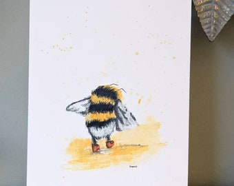 Bee playing in puddle hand finished print