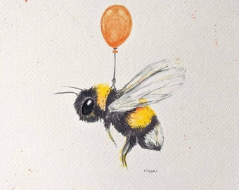 Bee with ballon,hand finished print of my original watercolour painting.