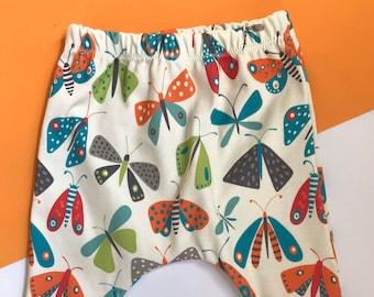 Baby Harem Pants / Children's Leggings / Toddler Trousers / Unisex Moth Print / Newborn Baby Gift