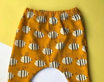 Baby Harem Pants / Children's Leggings / Toddler Trousers / Organic Unisex Bee Print / Newborn Baby Gift