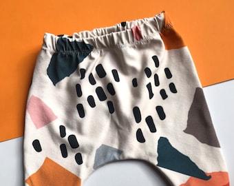 Baby Harem Pants / Children's Leggings / Toddler Trousers / Unisex Abstract Print / Newborn Baby Gift