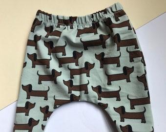 Baby Harem Pants / Children's Leggings / Toddler Trousers / Organic Sausage Dog Print / Newborn Baby Gift