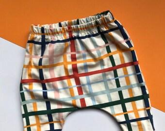 Baby Harem Pants / Children's Leggings / Toddler Trousers / Unisex Criss Cross Print / Newborn Baby Gift