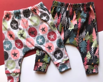 PREORDER Christmas Harem Pants / Baby and Children's Leggings / 0-4 years / Christmas Trees and Bauble Fabric