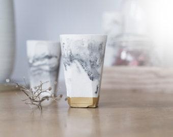 Fait à la main béton thé porte-bougie lumière, béton minimaliste, décor de marbre, bougeoir en ciment, béton moderne design, gris or