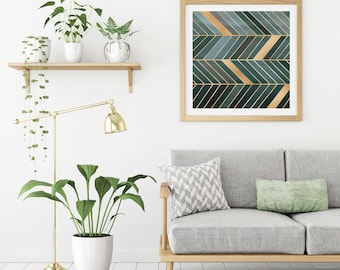 Teal Wall Art , Large Wall Art  , minimalist , Geometry print , Chevrons , modern art , green and gold , Scandinavian decor , teal ,