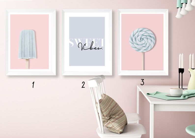 Pink//Mint Baby Room Wall Art Popsicle Lolly - Personalised Nursery Print