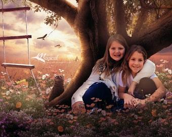 Digital Backdrop | Digital Background | Field Backdrop | Poppies Backdrop | Tree house backdrop | Backdrop| Flower Digital Backdrop