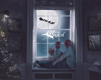 Christmas Window Santa flying over the moon night scene digital backdrop digital background add your children in photoshop