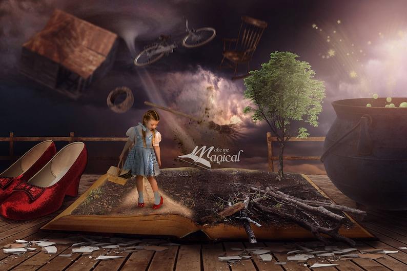 Dorothy digital backdrop, Wizard of oz backdrop, wizard of oz digital  background, dorothy and toto backdrop, kansas, red slippers, tornado