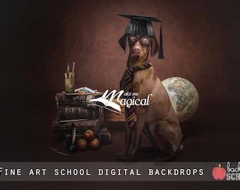 Fine Art Back to School Digital Backdrops, School digital backgrounds, Back to School Vintage textured fine art digital backdrop pack