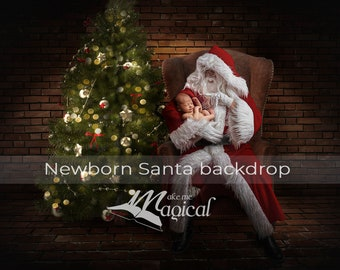Santa newborn pose in chair with Christmas tree in brick room digital backdrop by makememagical, Santa Claus digital background