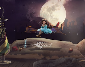 Aladdin digital backdrop, Jasmine digital background, magic flying carpet backdrop, arabian nights background, desert princess backdrop