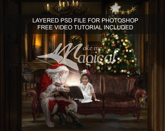 PSD file - Christmas digital backdrop of santa reading a magical glowing bible book.  Insert your child behind the glow, FREE video tutorial