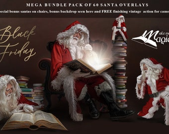 Over 60 Digital Santa Overlays in a massive bundle by makememagical.  FREE vinatge action, FREE video tutorials FREE santa on couch Psd