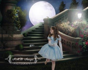 Cinderella backdrop | Moon backdrop | Digital Backdrop | Staircase Backdrop | Digital Garden Backdrop | Cinderella Background | Digital file