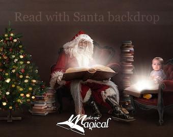 Vintage santa reading a glowing magic bible book christmas digital backdrop digital background by makememagical